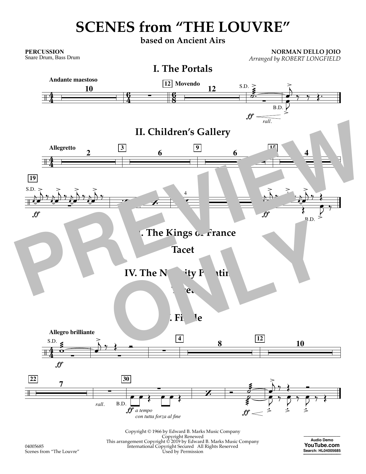 Norman Dello Joio Scenes from the Louvre (arr. Robert Longfield) - Percussion sheet music preview music notes and score for Concert Band including 1 page(s)