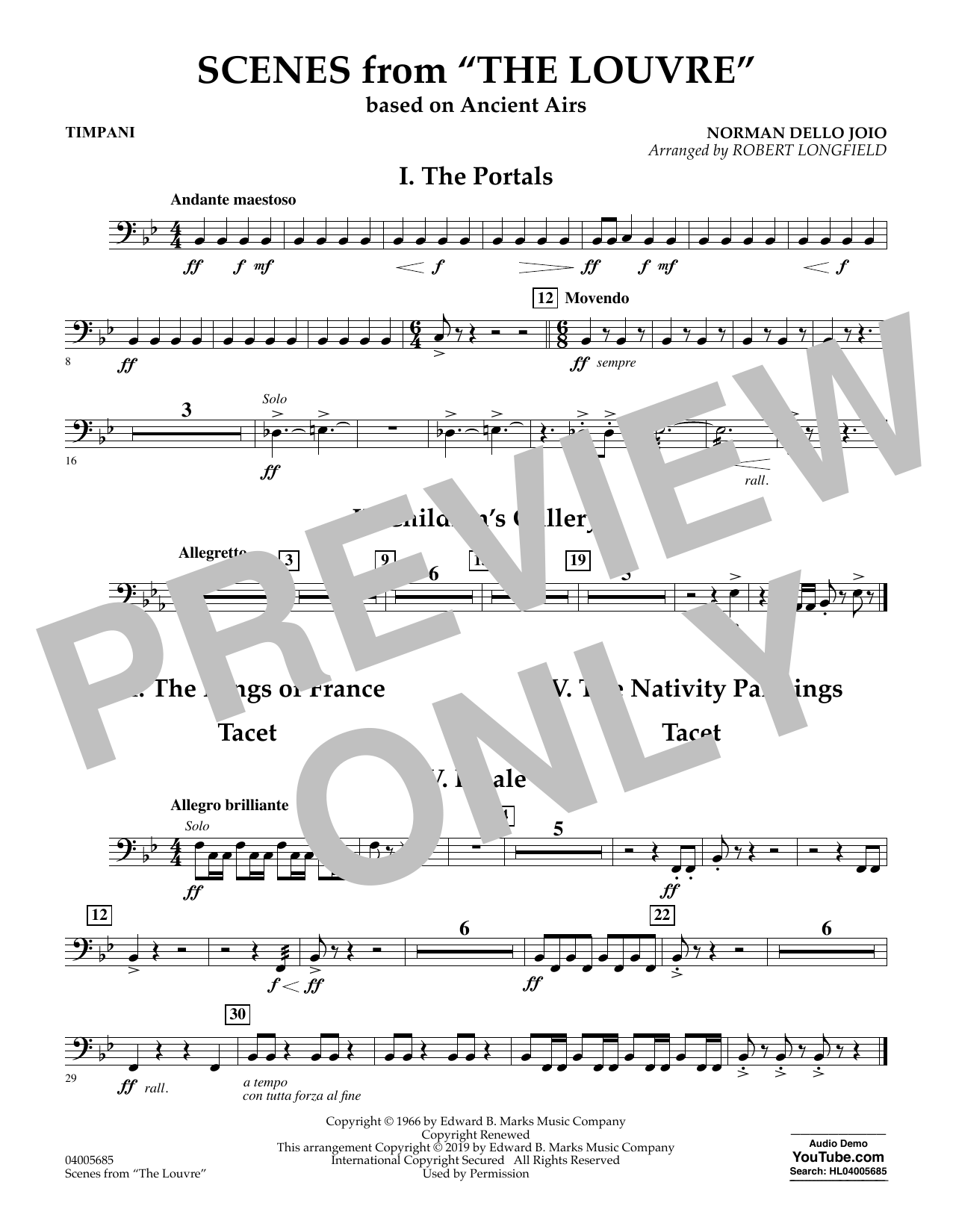 Norman Dello Joio Scenes from the Louvre (arr. Robert Longfield) - Timpani sheet music preview music notes and score for Concert Band including 1 page(s)
