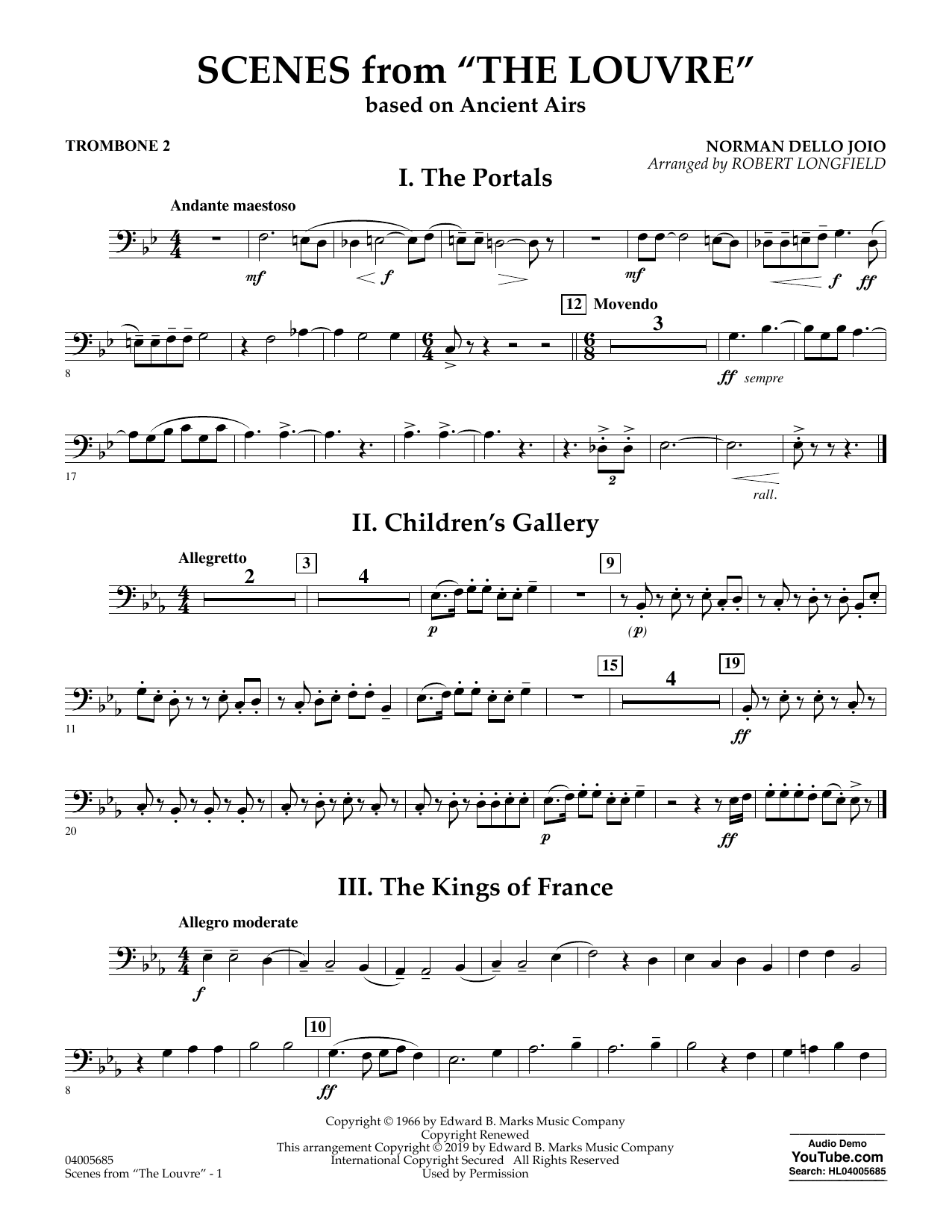 Norman Dello Joio Scenes from the Louvre (arr. Robert Longfield) - Trombone 2 sheet music preview music notes and score for Concert Band including 2 page(s)