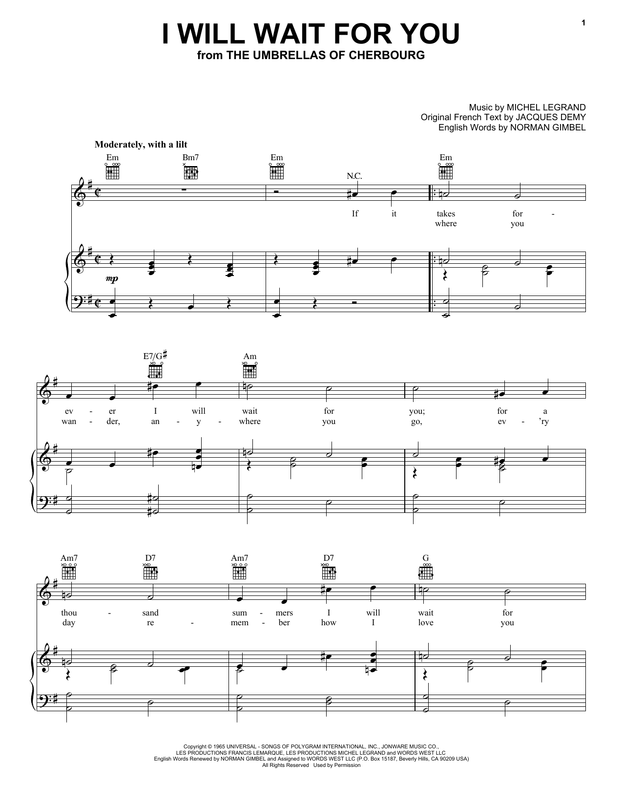 Norman Gimbel I Will Wait For You sheet music preview music notes and score for Piano, Vocal & Guitar (Right-Hand Melody) including 4 page(s)