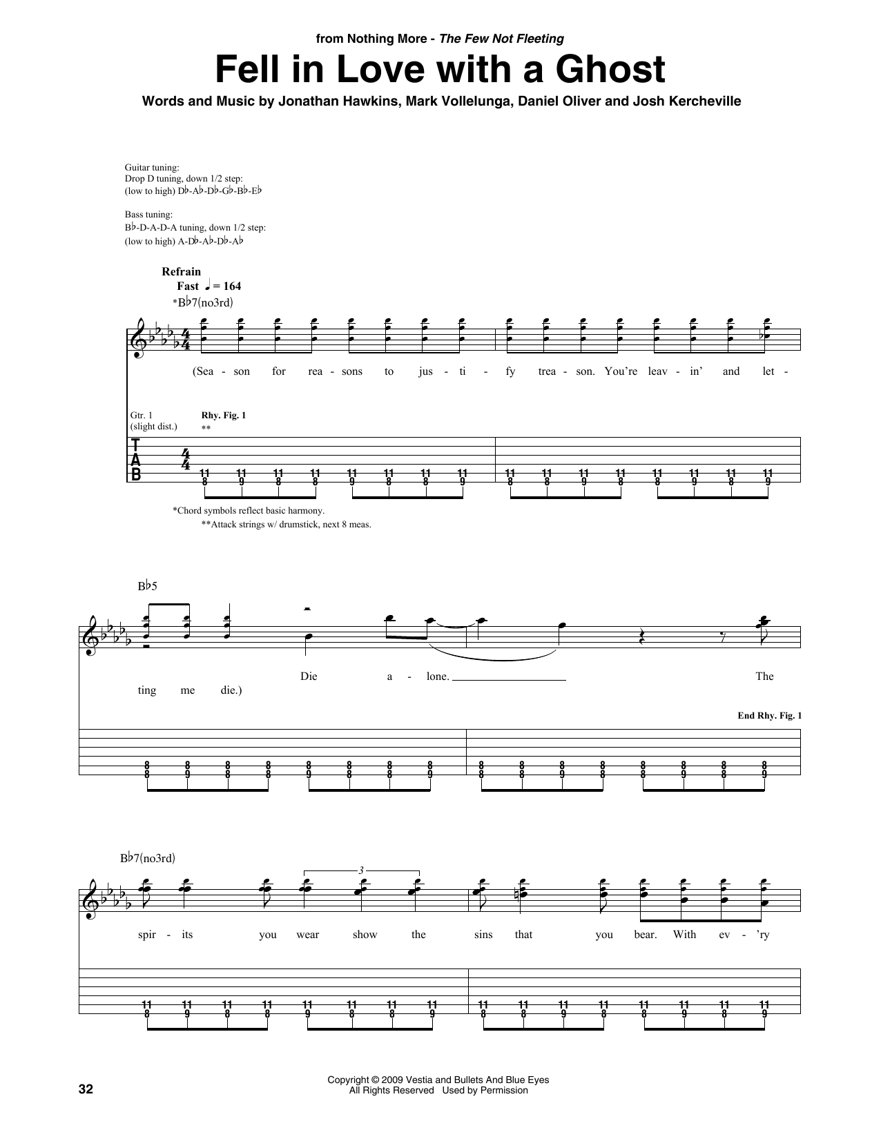 Download Nothing More 'Fell In Love With A Ghost' Digital Sheet Music Notes & Chords and start playing in minutes