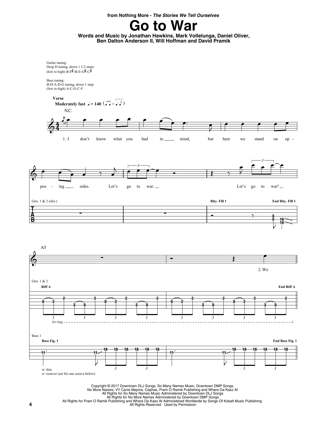 Download Nothing More 'Go To War' Digital Sheet Music Notes & Chords and start playing in minutes