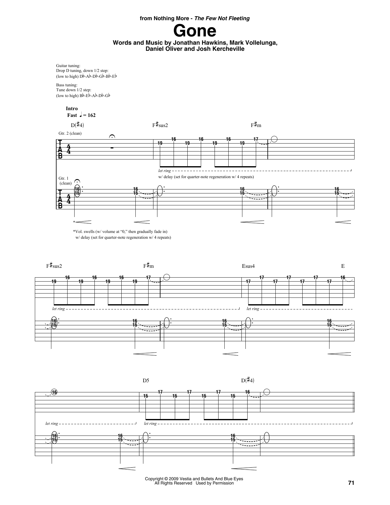 Download Nothing More 'Gone' Digital Sheet Music Notes & Chords and start playing in minutes