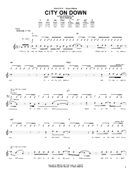 O.A.R. City On Down sheet music preview music notes and score for Guitar Tab including 5 page(s)