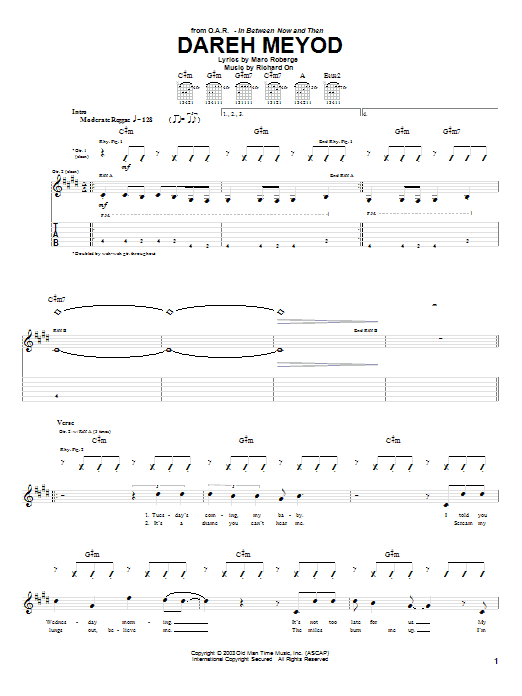 O.A.R. Dareh Meyod sheet music preview music notes and score for Guitar Tab including 5 page(s)