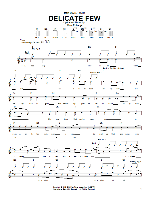 O.A.R. Delicate Few sheet music preview music notes and score for Guitar Tab including 9 page(s)