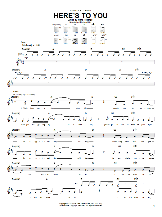 O.A.R. Here's To You sheet music preview music notes and score for Guitar Tab including 7 page(s)