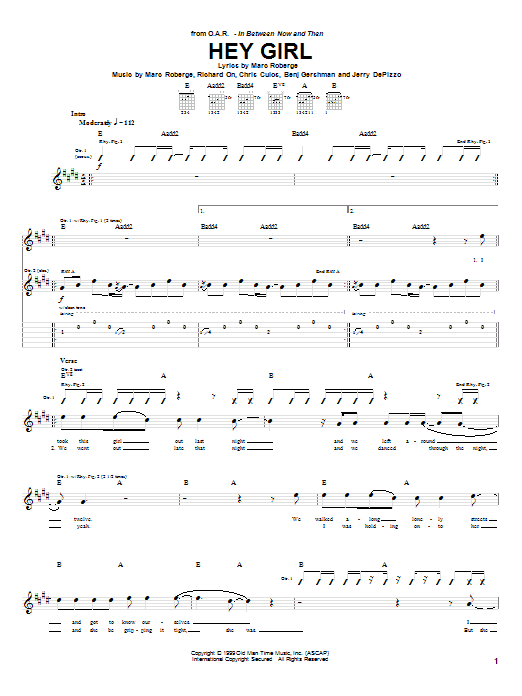 O.A.R. Hey Girl sheet music preview music notes and score for Guitar Tab including 5 page(s)