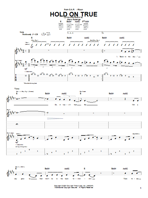 O.A.R. Hold On True sheet music preview music notes and score for Guitar Tab including 7 page(s)