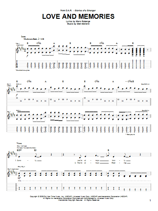 O.A.R. Love and Memories sheet music preview music notes and score for Guitar Tab including 5 page(s)