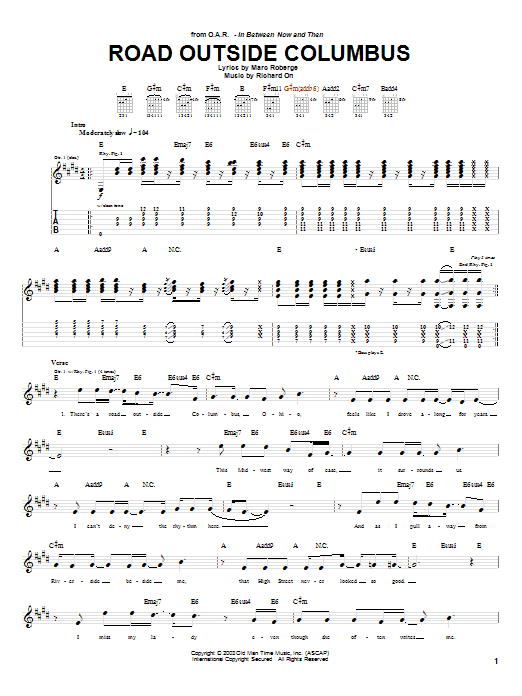 O.A.R. Road Outside Columbus sheet music preview music notes and score for Guitar Tab including 4 page(s)