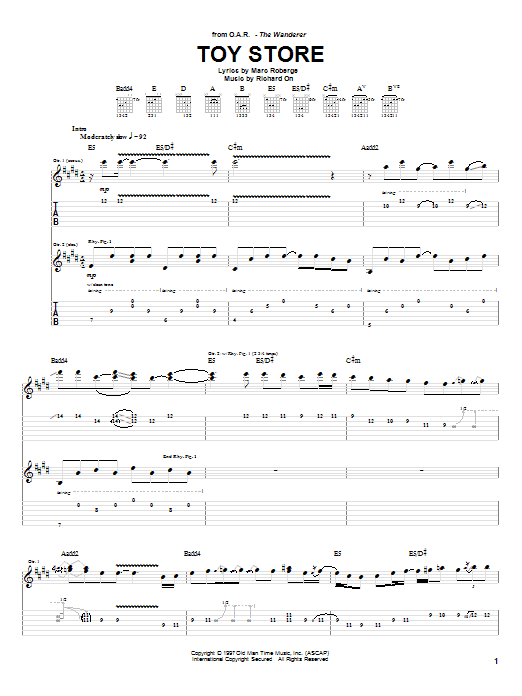 O.A.R. Toy Store sheet music preview music notes and score for Guitar Tab including 7 page(s)