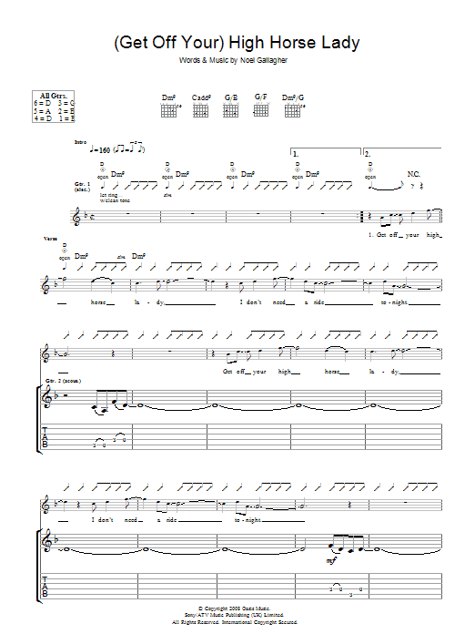 Oasis (Get Off Your) High Horse Lady sheet music preview music notes and score for Piano, Vocal & Guitar including 8 page(s)