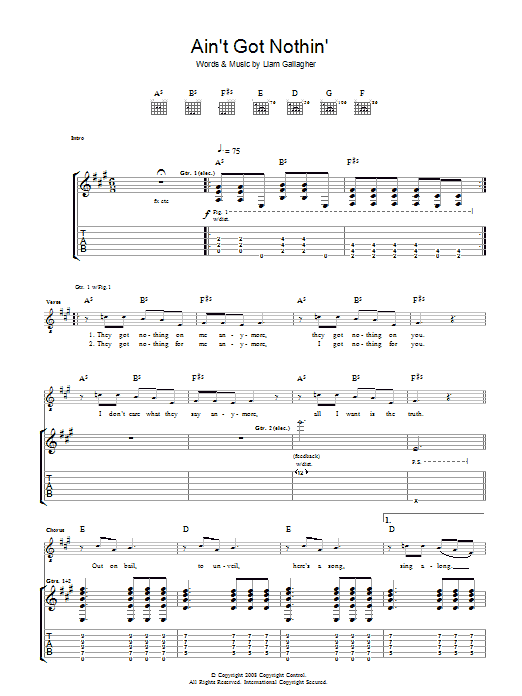 Oasis Ain't Got Nothin' sheet music preview music notes and score for Guitar Tab including 3 page(s)