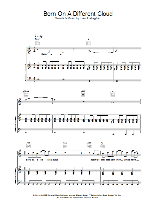 Oasis Born On A Different Cloud sheet music preview music notes and score for Piano, Vocal & Guitar including 5 page(s)