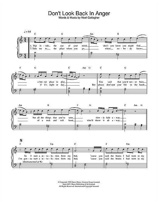 Oasis Don't Look Back In Anger sheet music notes and chords