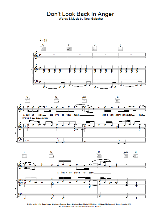 Oasis Don't Look Back In Anger sheet music preview music notes and score for Ukulele with strumming patterns including 4 page(s)