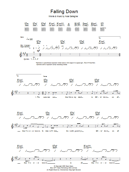 Oasis Falling Down sheet music preview music notes and score for Guitar Tab including 6 page(s)