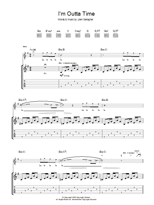 Oasis I'm Outta Time sheet music preview music notes and score for Piano, Vocal & Guitar including 6 page(s)