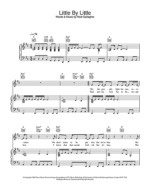 Oasis Little By Little sheet music notes and chords