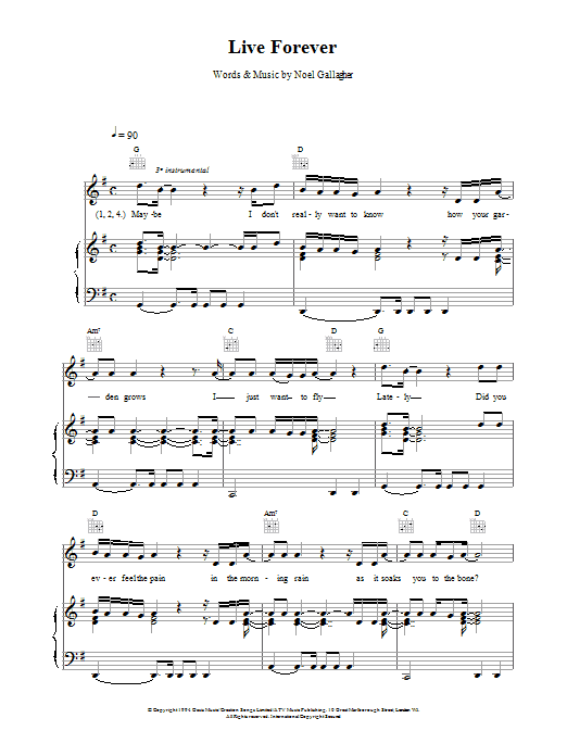 Oasis Live Forever sheet music preview music notes and score for Keyboard including 2 page(s)