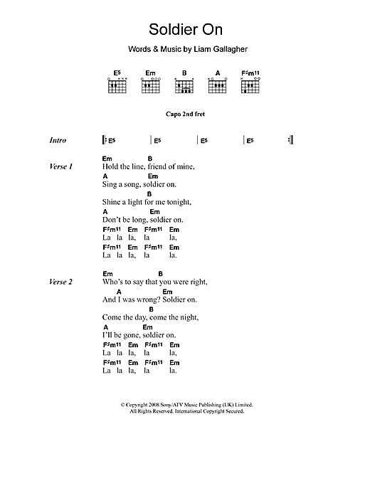 Oasis Soldier On sheet music notes and chords
