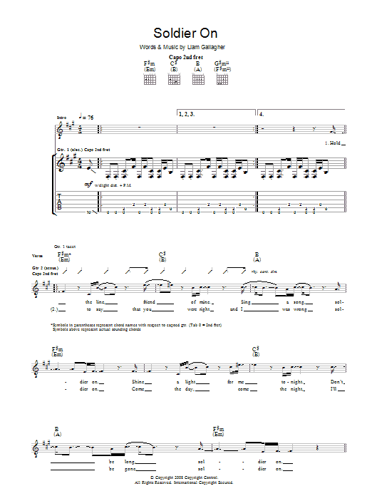 Oasis Soldier On sheet music preview music notes and score for Guitar Tab including 3 page(s)