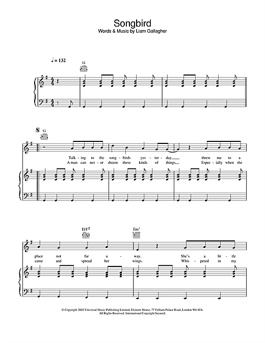 Oasis Songbird sheet music notes and chords