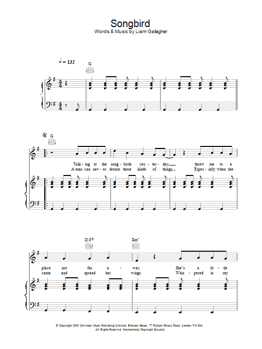 Oasis Songbird sheet music preview music notes and score for Keyboard including 2 page(s)