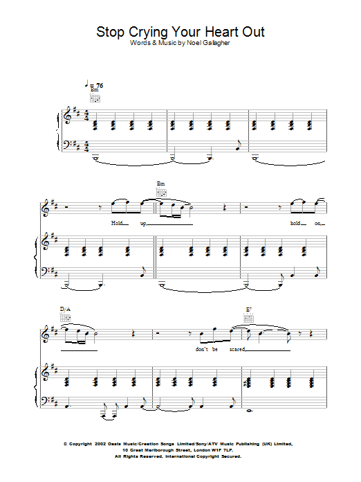 Oasis Stop Crying Your Heart Out sheet music preview music notes and score for Piano, Vocal & Guitar including 6 page(s)