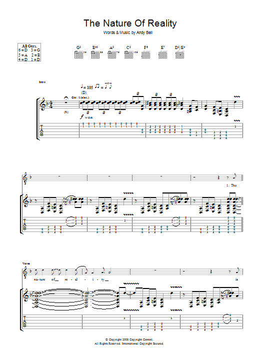 Oasis The Nature Of Reality sheet music preview music notes and score for Piano, Vocal & Guitar including 4 page(s)