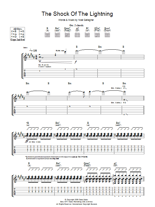 Oasis The Shock Of The Lightning sheet music preview music notes and score for Piano, Vocal & Guitar including 7 page(s)