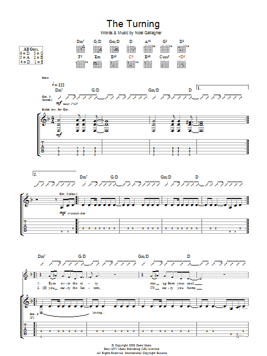 Oasis The Turning sheet music preview music notes and score for Guitar Tab including 6 page(s)