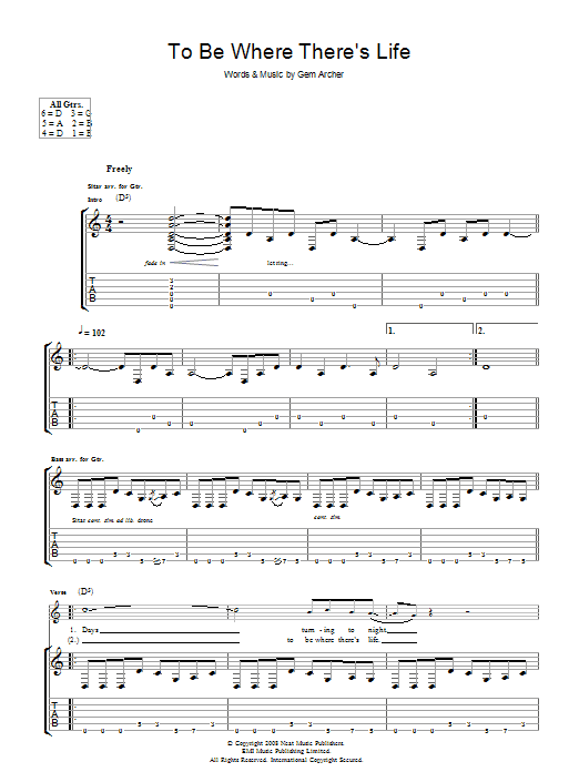 Oasis To Be Where There's Life sheet music preview music notes and score for Piano, Vocal & Guitar including 5 page(s)