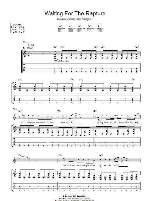 Oasis Waiting For The Rapture sheet music preview music notes and score for Piano, Vocal & Guitar including 5 page(s)