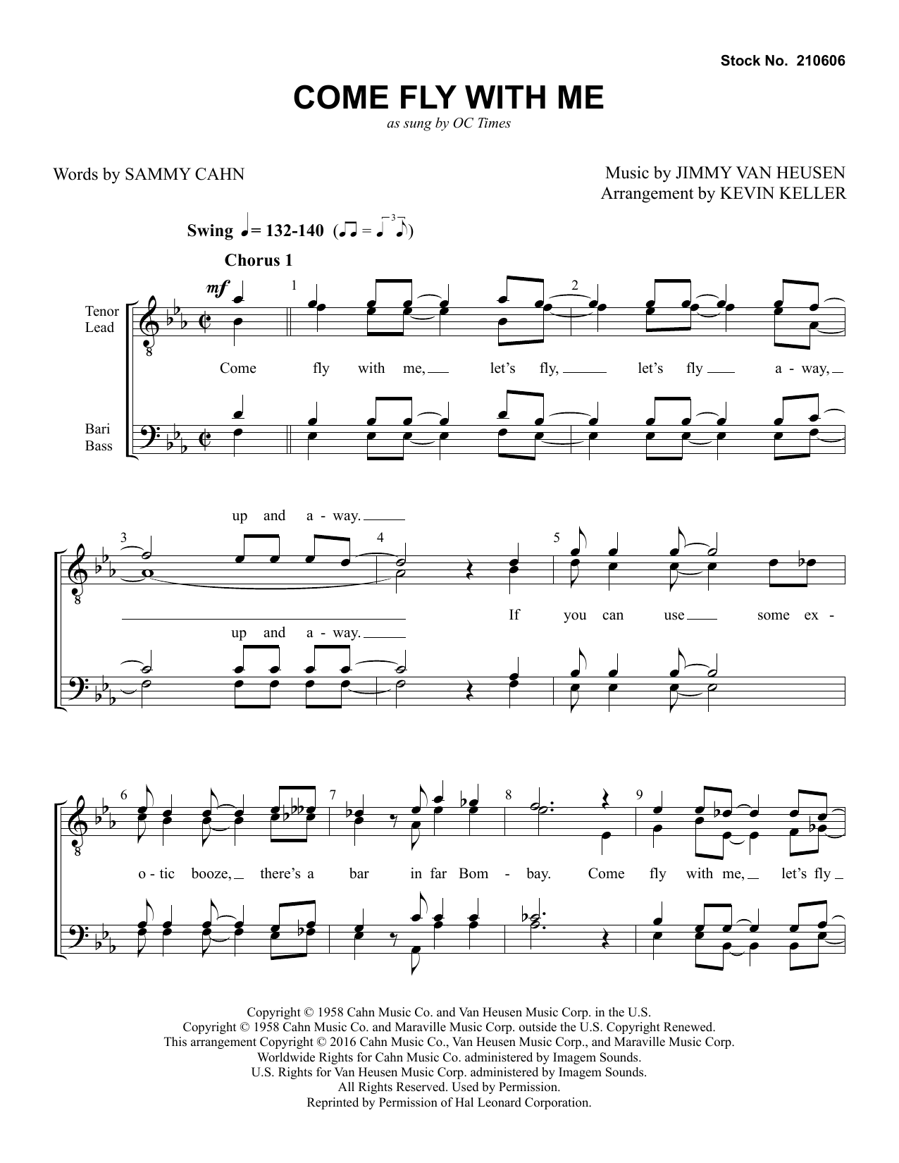 OC Times Come Fly with Me (arr. Kevin Keller) sheet music preview music notes and score for TTBB Choir including 5 page(s)