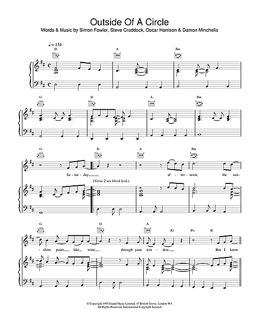 Ocean Colour Scene Outside Of A Circle sheet music notes and chords