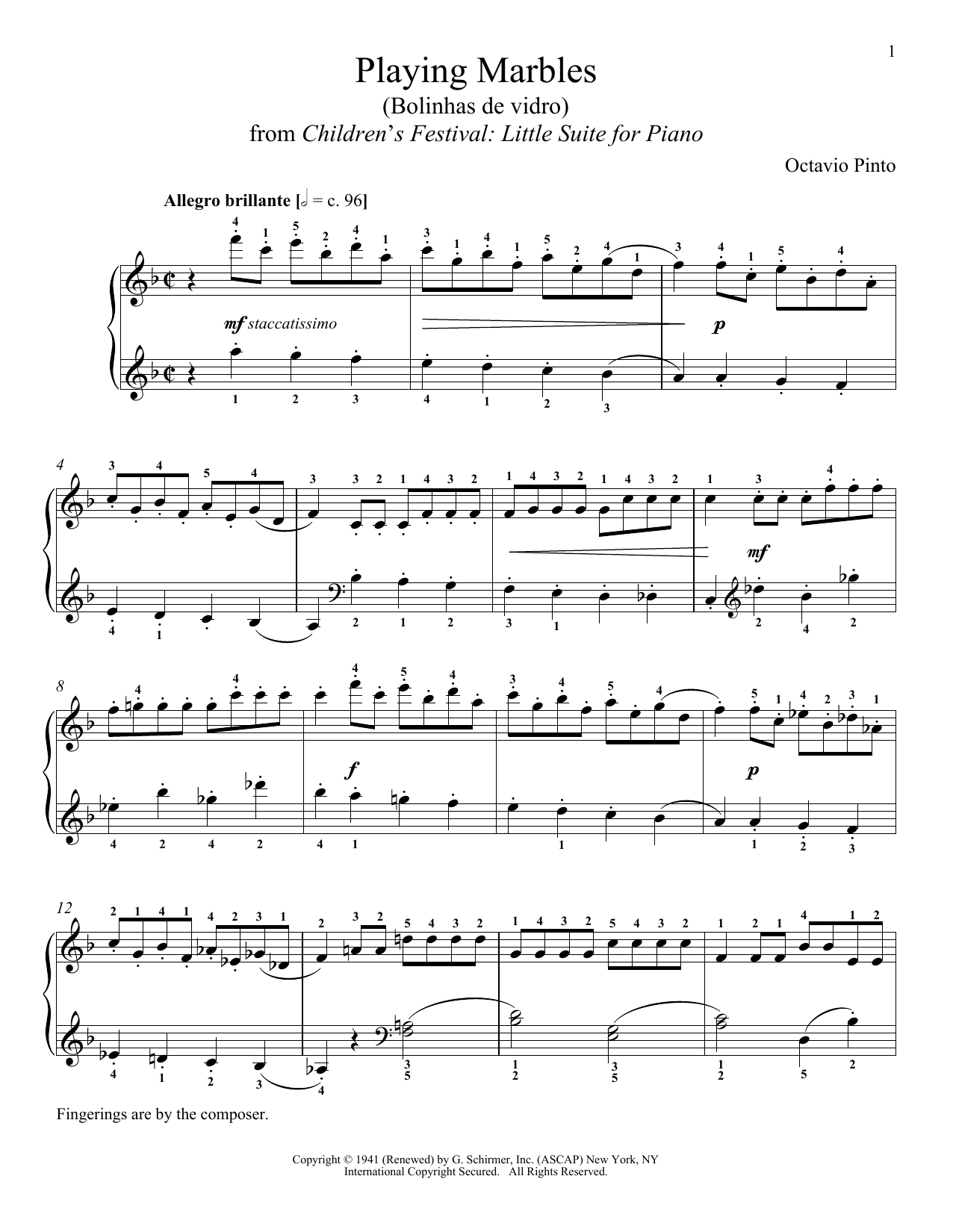 Download Octavio Pinto 'Playing Marbles' Digital Sheet Music Notes & Chords and start playing in minutes
