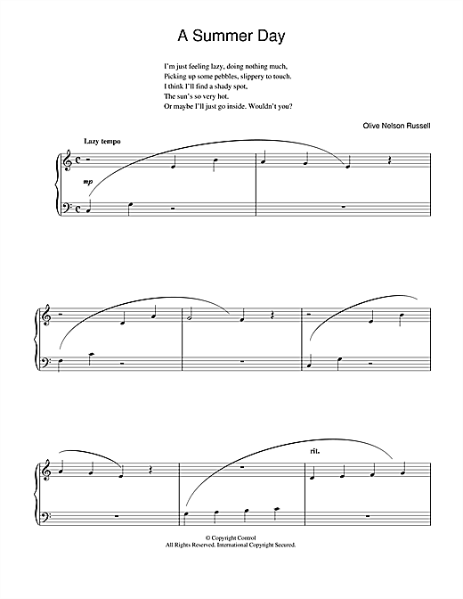 Download Olive Nelson Russell 'A Summer Day' Digital Sheet Music Notes & Chords and start playing in minutes