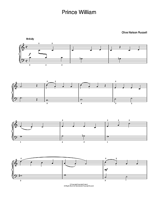 Download Olive Nelson Russell 'Prince William' Digital Sheet Music Notes & Chords and start playing in minutes