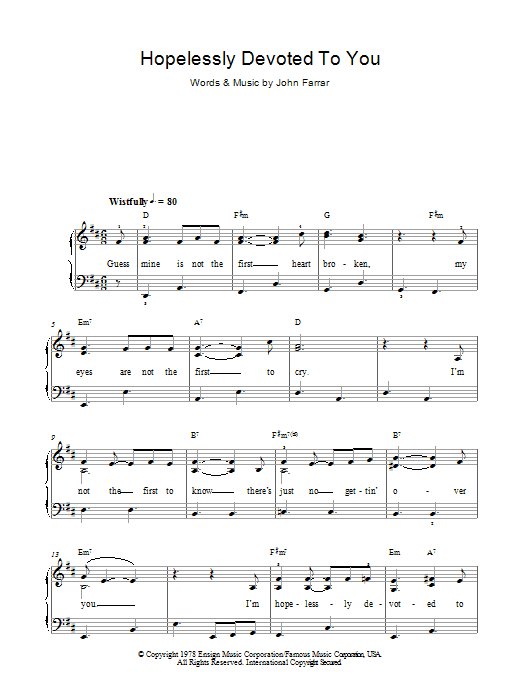 Olivia Newton-John Hopelessly Devoted To You (from Grease) sheet music preview music notes and score for Piano, Vocal & Guitar including 5 page(s)