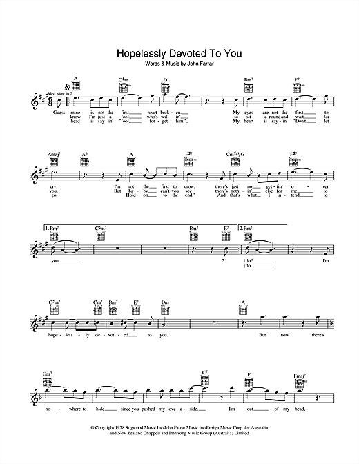 Olivia Newton-John Hopelessly Devoted To You (from Grease) sheet music preview music notes and score for Melody Line, Lyrics & Chords including 2 page(s)