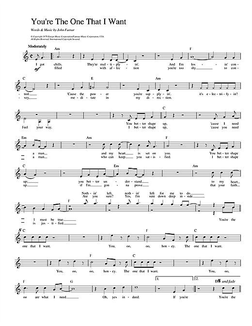 Olivia Newton-John and John Travolta You're The One That I Want (from Grease) sheet music preview music notes and score for Beginner Piano including 3 page(s)