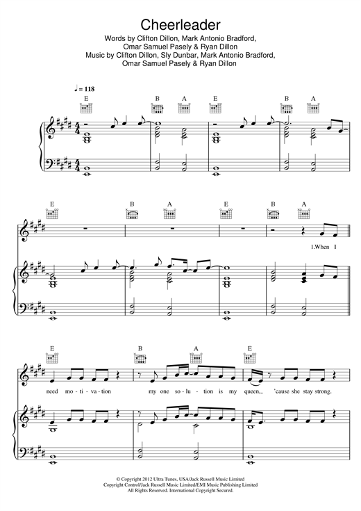 Download Omi 'Cheerleader' Digital Sheet Music Notes & Chords and start playing in minutes
