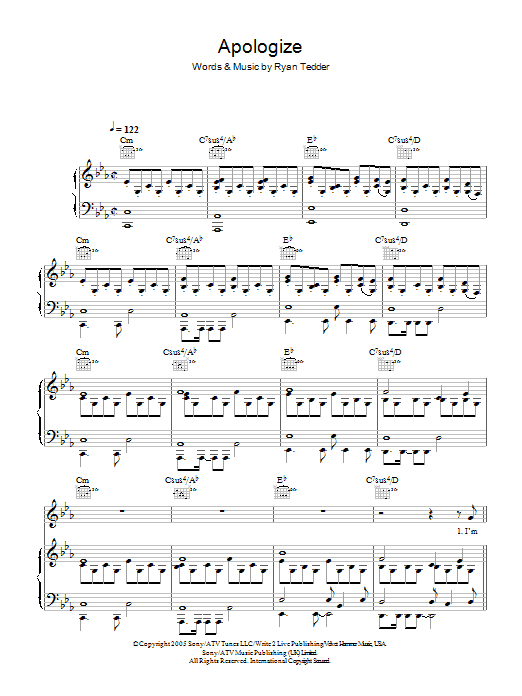 OneRepublic Apologize sheet music preview music notes and score for Keyboard including 2 page(s)