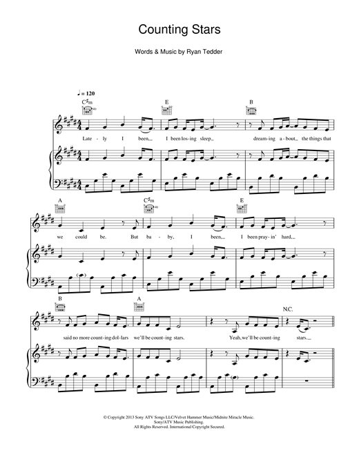 Download OneRepublic 'Counting Stars' Digital Sheet Music Notes & Chords and start playing in minutes