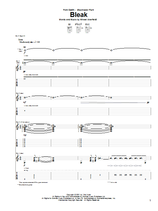 Opeth Bleak sheet music preview music notes and score for Guitar Tab including 22 page(s)