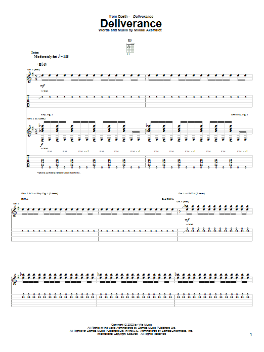 Opeth Deliverance sheet music preview music notes and score for Guitar Tab including 17 page(s)