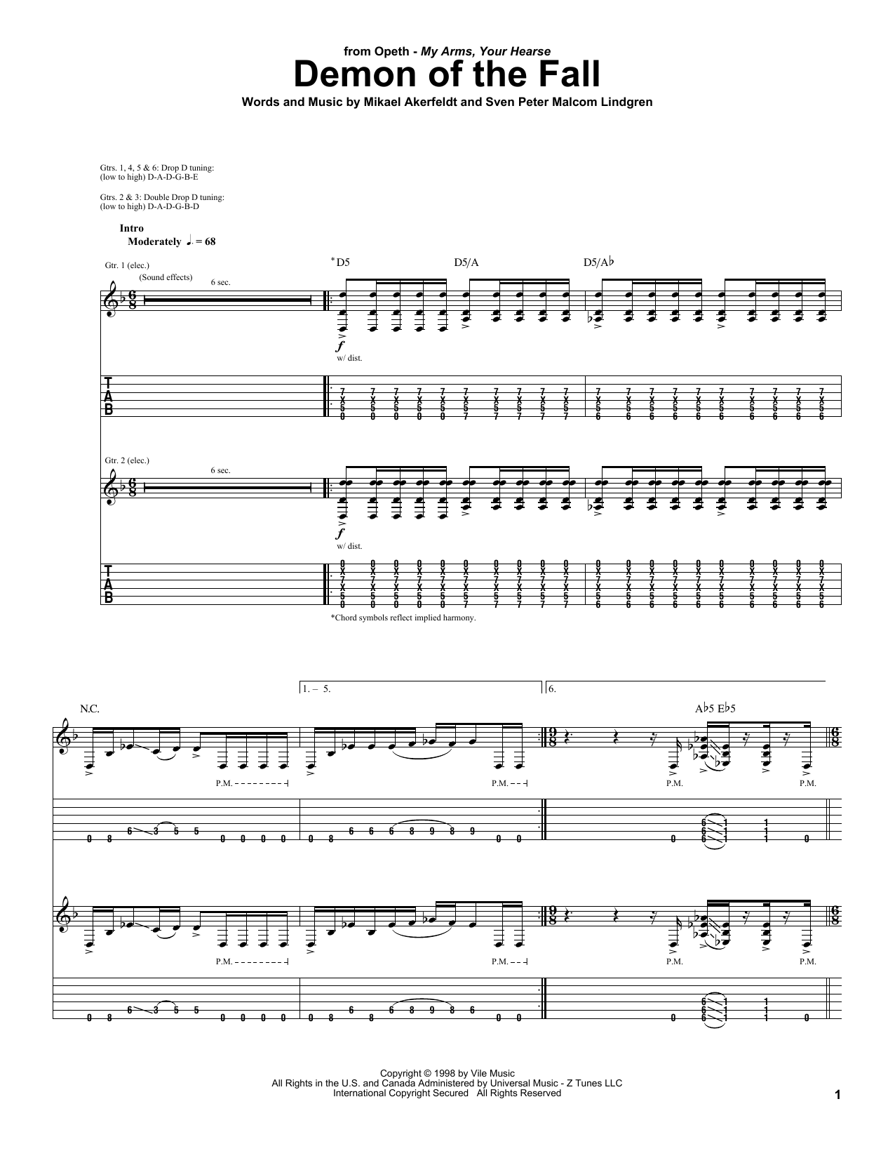 Opeth Demon Of The Fall sheet music preview music notes and score for Guitar Tab including 15 page(s)