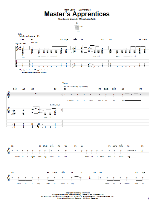 Opeth Master's Apprentices sheet music preview music notes and score for Guitar Tab including 17 page(s)